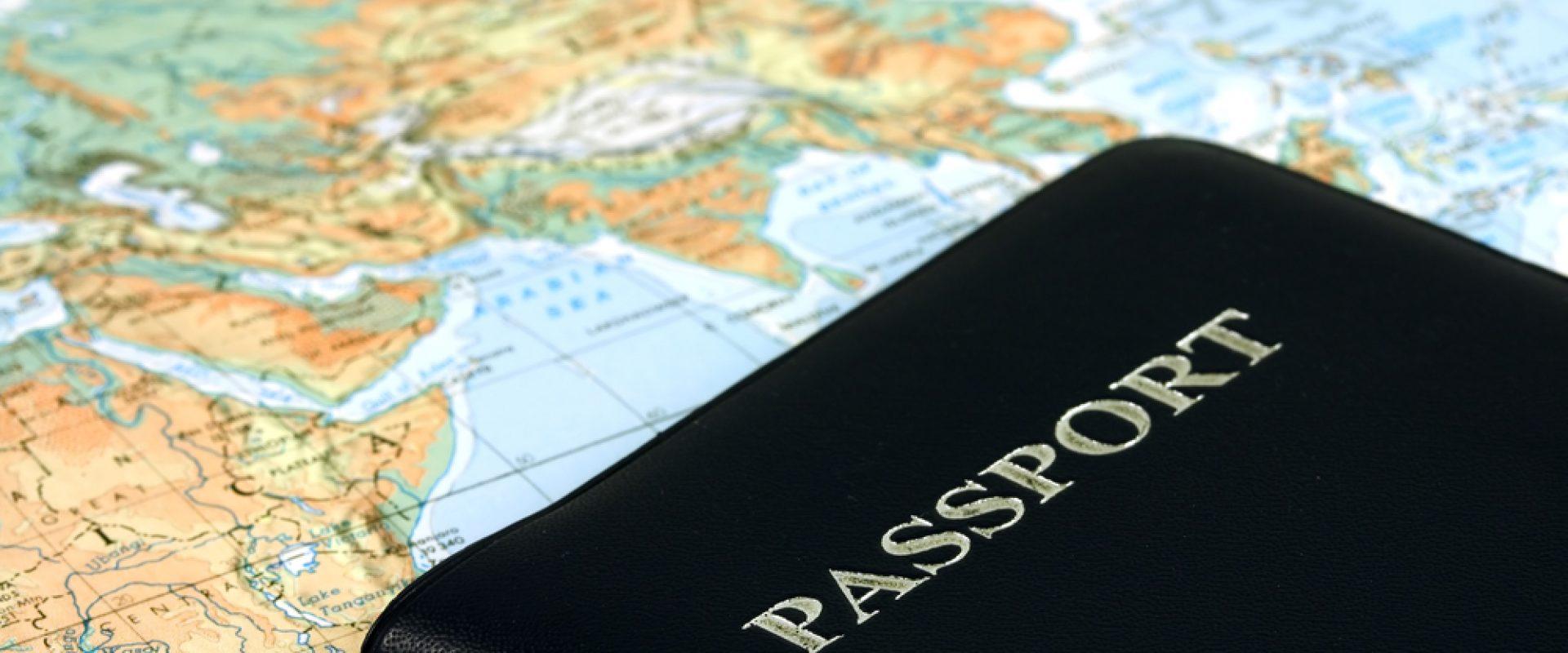 A passport on a world map